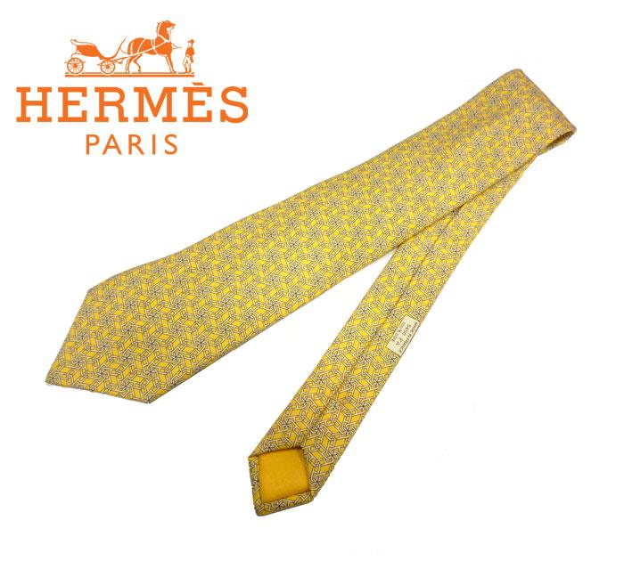 【HERMES】エルメス ネクタイ 鎖柄 イエロー系 シルク100% メンズ フランス製 ビジネス 絹 RC0134【中古】