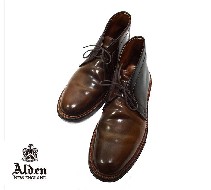 【Alden】オールデン #13132 バリー チャッカ シガーコードバン プレーントゥ ブラウン 茶 革 レザー 靴 サイズ6 1/2E RH0026 【中古】