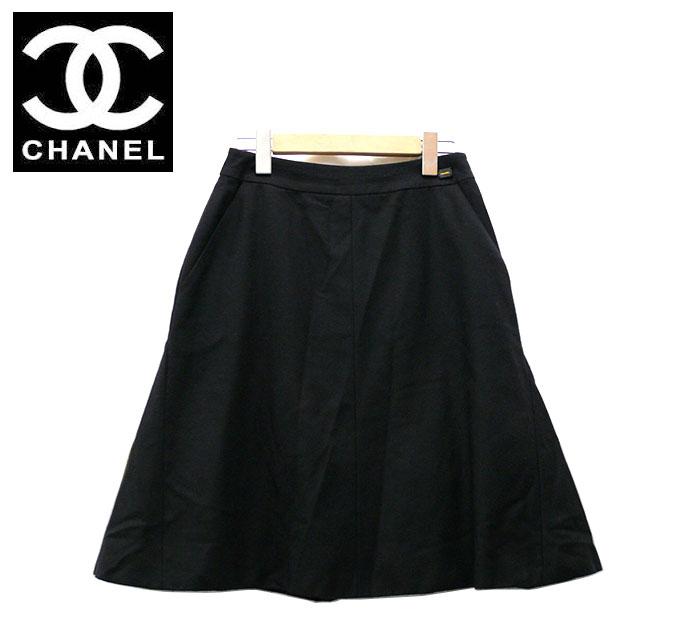 【CHANEL】シャネル フレアースカート サイズ38 ブラック 黒 カジュアル フェミニン ひざ丈 ミニ 【中古】 RC0422