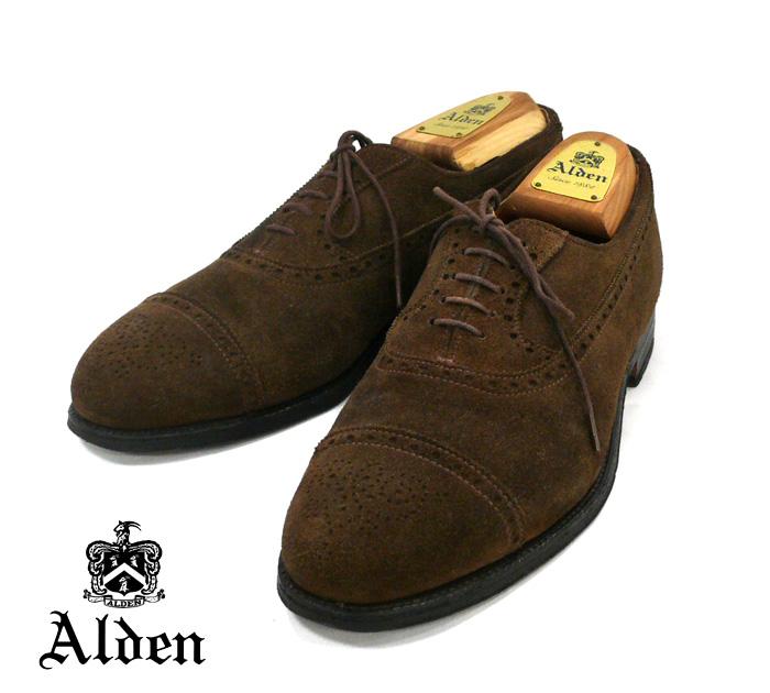 【ALDEN】オールデン #9292 セミグローブキャップトゥ アバディーンラスト サイズ8 1/2D スウェード スエード ブラウン ドレスシューズ 靴 RM0702 【中古】