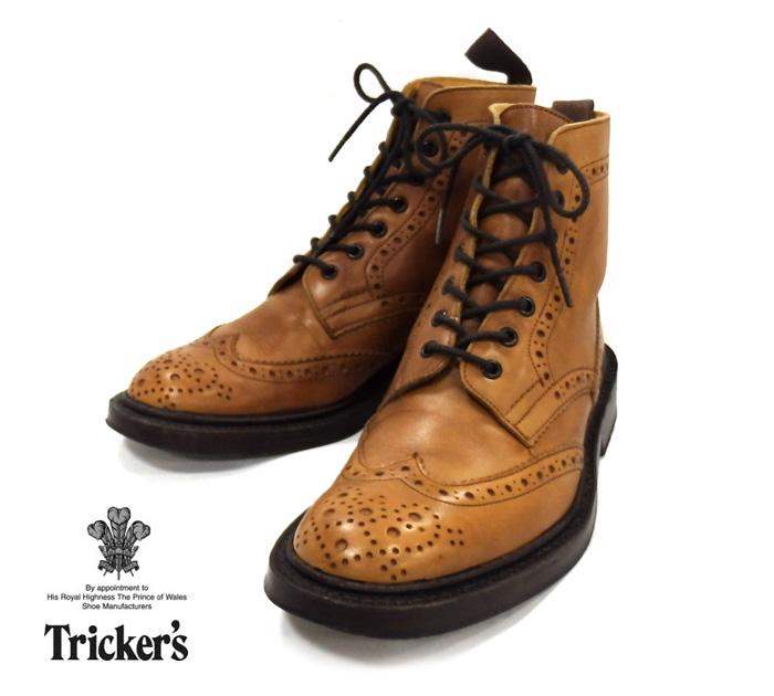 【Tricker's】トリッカーズ バーニッシュドカーフ カントリーブーツ サイズ6 1/2 F5 ウイングチップ M2508 英国 MADE IN ENGLAND RM0706 【中古】
