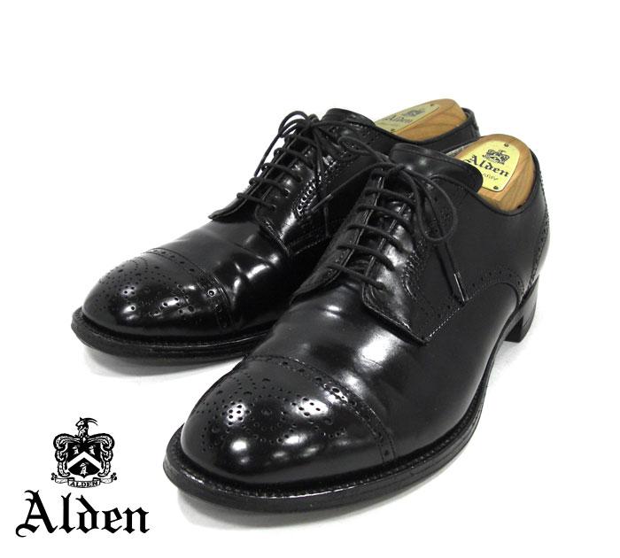 【ALDEN】オールデン #54095 コードバン セミグローブ モディファイドラスト サイズ9D スチールトゥ付き ブラック 黒 箱付き ドレスシューズ 紳士靴 メンズ RM1285 【中古】