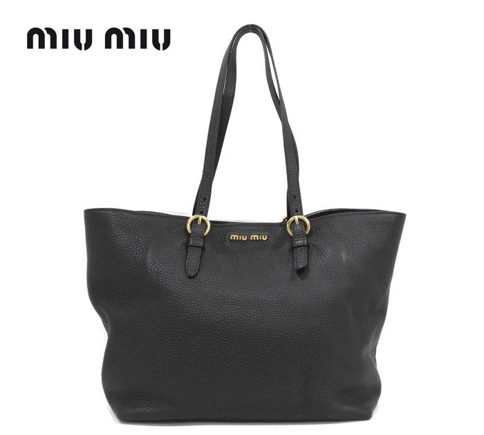 【miu miu】ミュウミュウ レザー 2wayトートショルダーバッグ ブラック 黒 革 ゴールド金具 レディース 鞄 RA4856 【中古】