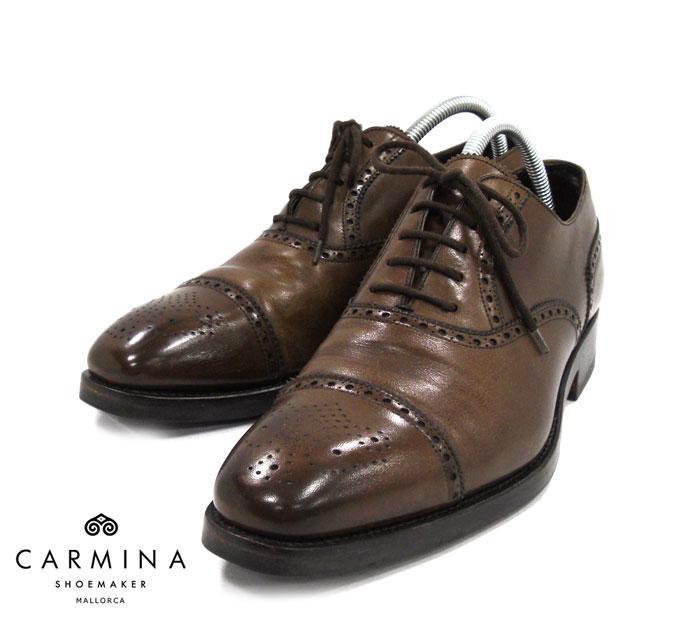 【CARMINA】カルミーナブローグシューズ サイズ8 1/2 ブラウン 茶 ドレスシューズ レザー 革靴 紳士靴 メンズ MADE IN SPAIN RM1310 【中古】