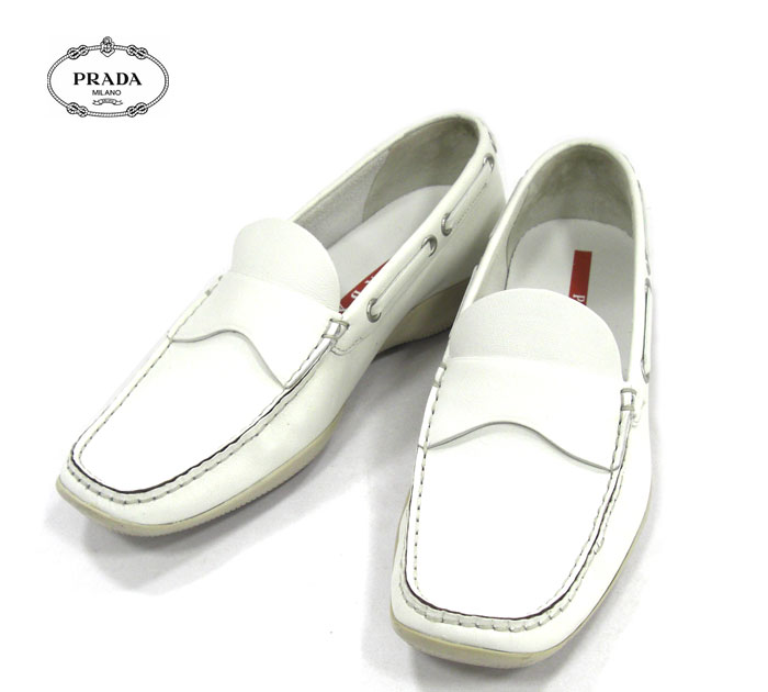 【PRADA】プラダ ローファー シューズ 靴 レザー 革 ホワイト 白 レディース 女性用 サイズ36 1/2 RA4937【中古】