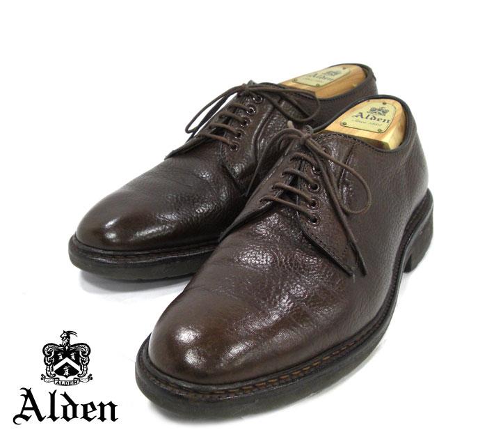 【ALDEN】オールデン #94308 サイズ9D グレインレザー プレーントゥ ブラウン 茶 ドレスシューズ 紳士靴 メンズ ビジネス カジュアル RM1326 【中古】