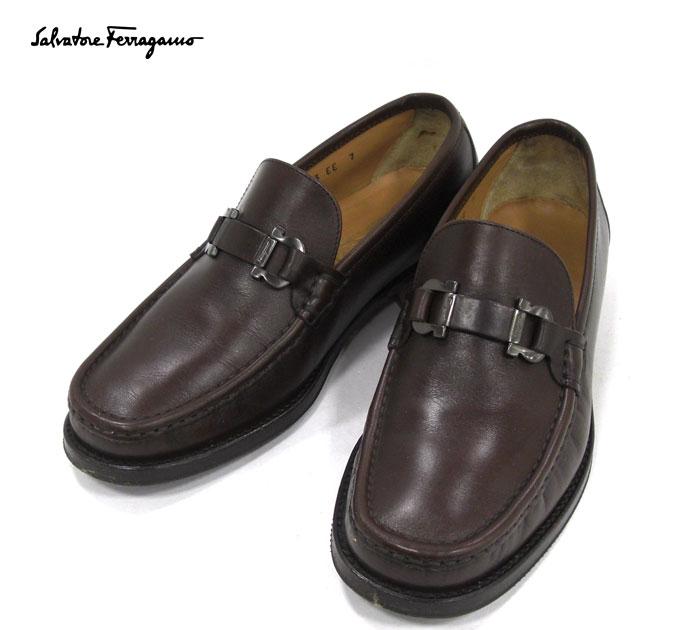 高級 ブランド シューズ 靴 Salvatore Ferragamo サルヴァトーレフェラガモ ガンチーニ サイズ7EE ふるさと割 革靴 レザー 新着セール ローファー ブラウン RA4981 中古
