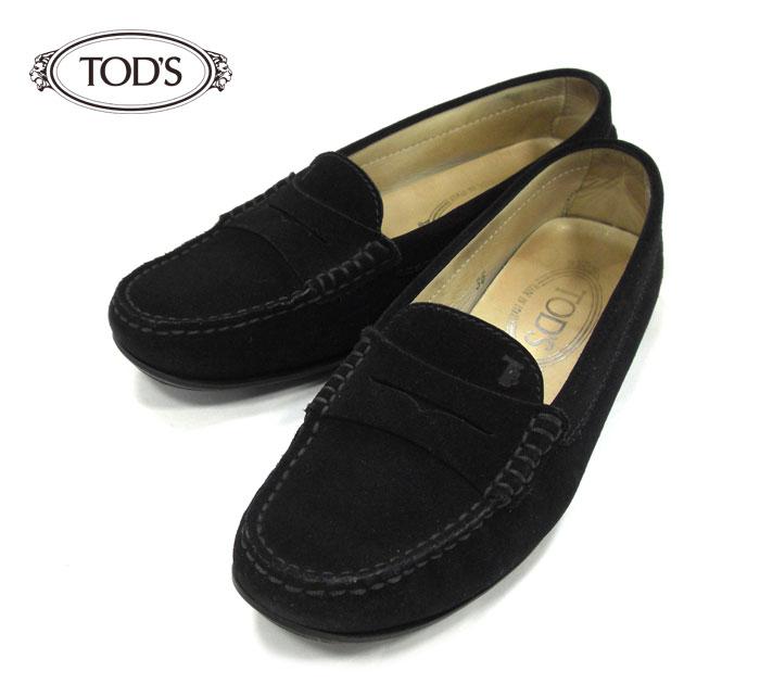 【TOD'S】ドライビングシューズ カジュアル シューズ スエード ブラック 黒 サイズ36 ローファー シューズ モカシン レディース 革靴 レザー RM1351 【中古】