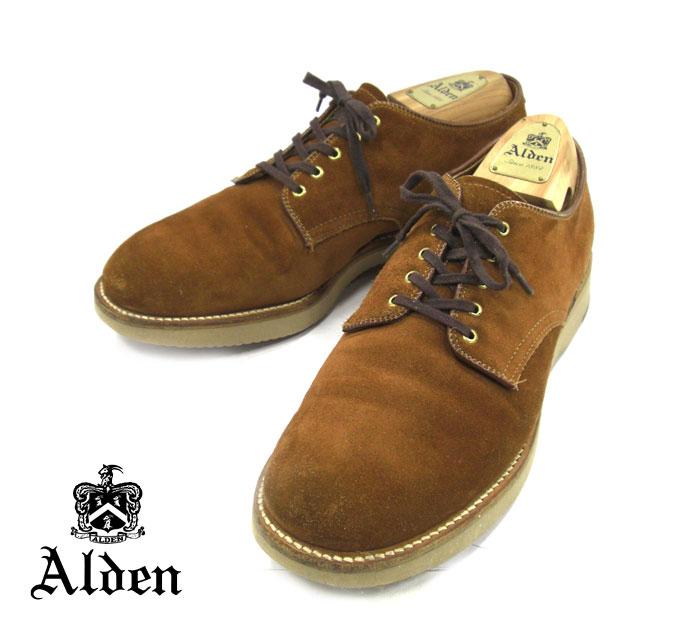 【ALDEN】オールデン #49083 レザーシューズ スナッフスウェード ミリタリーラスト プレーントゥ サイズ8 1/2 D スーパーライトソール 紳士靴 メンズ RM1739【中古】