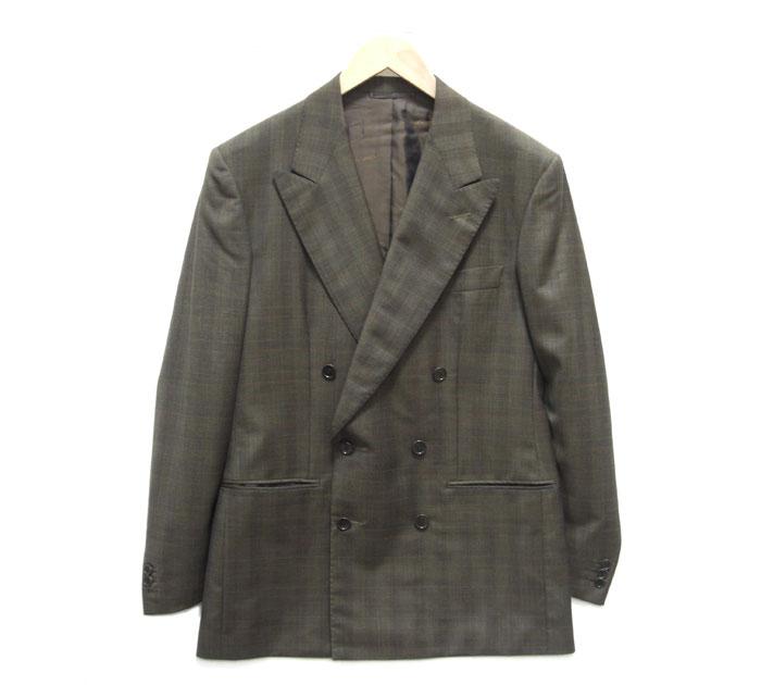 【st saintandrews】セントアンドリュース ダブルブレストジャケット シャドウチェック サイズ48 ブラウン系 イタリア製 メンズ RM1754【中古】