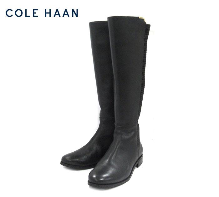 【COLE HAAN】コールハーン #W00210 ロックランドブーツ トールブーツ サイズ7 1/2 ブラック レディース 女性用 ストレッチ素材 RM1856【中古】