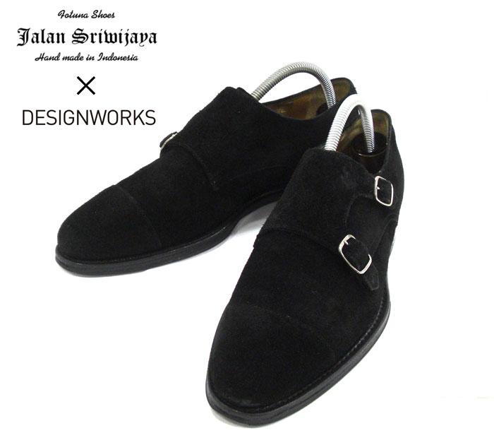 【Jalan Sriwijaya×DESIGN WORKS】ジャランスリワヤ×デザインワークス #98374 ストラップシューズ ダブルモンク スウェード ブラック サイズ7 1/2 ラスト11120 メンズ 男性用 革靴 ビジネスシューズ レザー RM1873【中古】