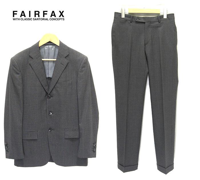 【FAIR FAX】フェアファックス 3ボタン スーツ セットアップ ピンストライプ サイズ44 グレー 灰 メンズ 男性用 ビジネス RM2205【中古】