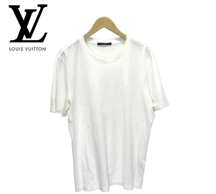 【LOUIS VUITTON】ルイヴィトン LV Tシャツ カットソー クルーネック ホワイト サイズXL イタリア製 メンズ 男性用 2016 トップス 半袖 RM2369【中古】