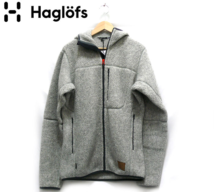【Haglofs】ホグロフス ジップアップ パイルフードジャケット サイズM メンズ 男性用 グレー 起毛 長袖 冬服 秋服 アウター 未使用 RC2045【中古】