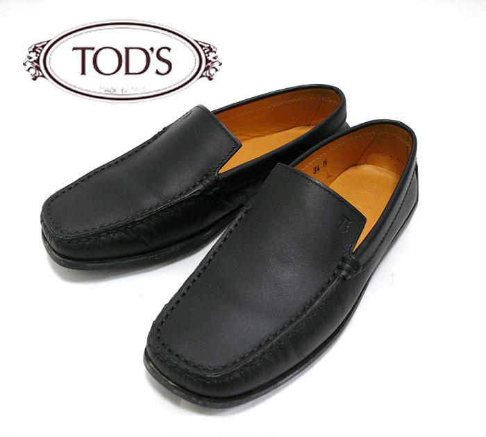 【TOD'S】トッズ レザードライビングシューズ 22.5cm位 黒 ブラック ラバー【中古】