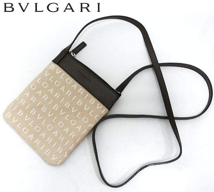 【ブルガリ】 BVLGARI ロゴマニア ポシェット ショルダーバッグ ポーチ ベージュ 鞄 かばん 斜めがけショルダー ななめがけ 肩掛け【中古】