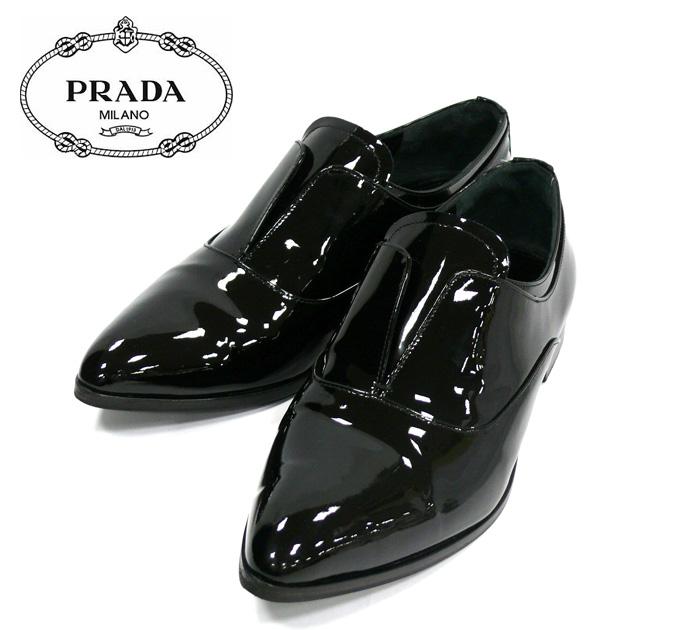 【PRADA】プラダ エナメル シューズ ローファー パテントレザー サイズ35 1/2 ブラック 黒 レディース 女性用 靴 RM0892 【中古】