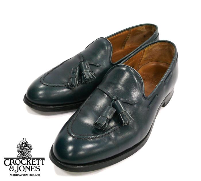 【CROCKETT&JONES】クロケットジョーンズ CAVENDISH2 タッセルローファー シューズ ネイビー系 サイズ7 1/2E 革靴 英国 紳士靴 RM0908 【中古】