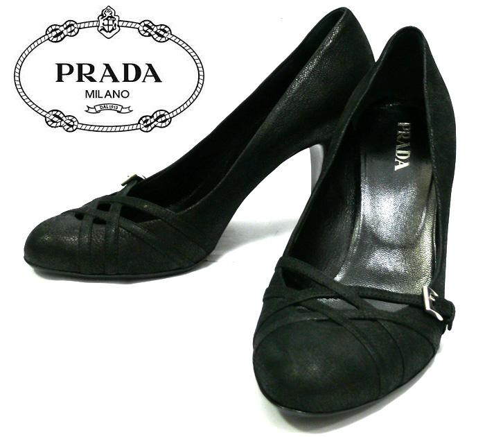【PRADA】プラダ レザーパンプス EU 37.5 ≒ 24.5cm 箱、保存袋有り ブラック ヒール 靴 新品同様 美品 スエード イタリア製 山羊革 レディース RC0664 【中古】