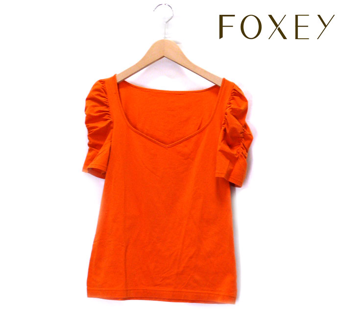 【FOXEY NEWYORK】フォクシー ニューヨーク シュークリーム トップス パフスリーブ カットソー オレンジ サイズ40 推定Lサイズ 半袖 レディース 日本製 RC0679 【中古】