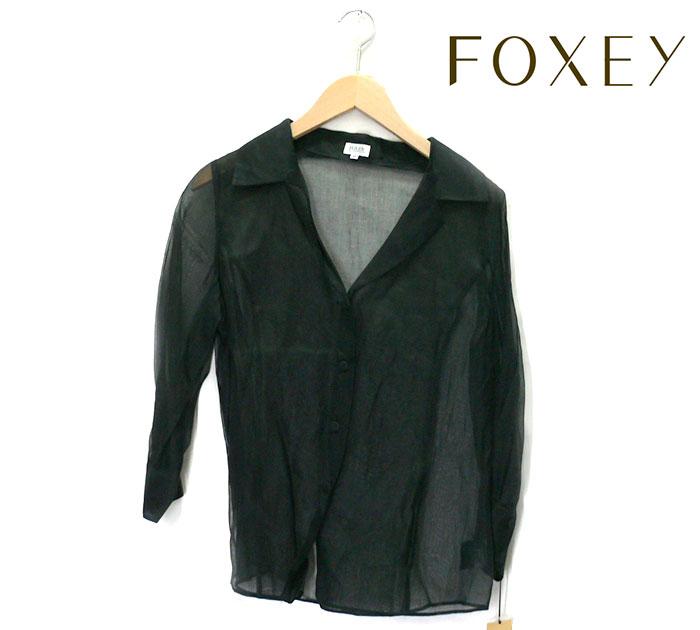 【FOXET】フォクシー ブティック オープンVネック シースルー ビショップシャツ サイズ40 推定Lサイズ レディース ブラック 日本製 7分袖 オーガンジー タグ付き未使用 RC0700 【中古】