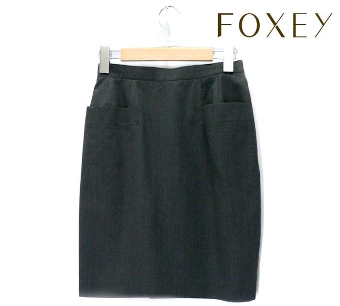 【FOXEY】フォクシー シンプル グレー ポケット タイトスカート サイズ40 推定Lサイズ レディース 女性用 ボトムス RC0712【中古】