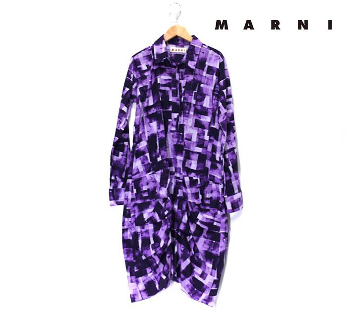 【MARNI】マルニ 幾何学模様 ロングスリーブ シャツ ワンピース イタリア製 サイズ40 レディース 女性用 パープル 紫 長袖 RC0732【中古】
