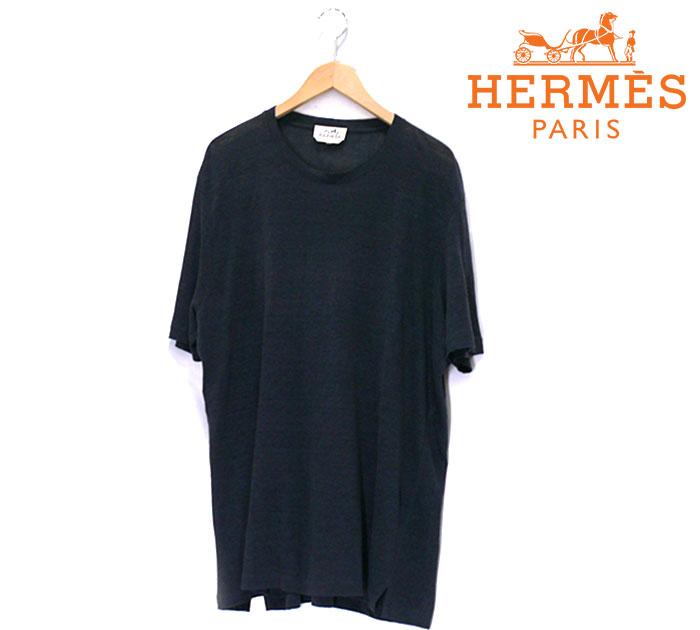【HERMES】エルメス リネン ショートスリーブ カットソー Tシャツ サイズXXL イタリア製 メンズ 男性用 グレー 薄手 半袖 RC0769【中古】