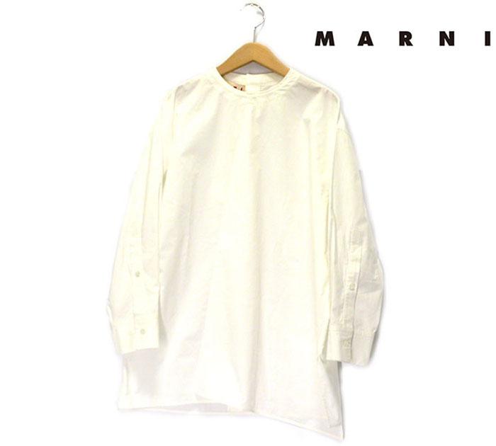 【MARUNI】マルニ アシンメトリー フロントライン スモック チュニック サイズ38 イタリア製 レディース 女性用 白 コットン RC0772【中古】