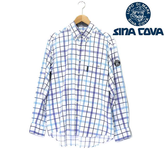 【SINACOVA】シナコバ ラインチェック ボタンダウン ロングスリーブ シャツ Mサイズ 青 ブルー メンズ 男性用 日本製 綿 RC0781 【中古】