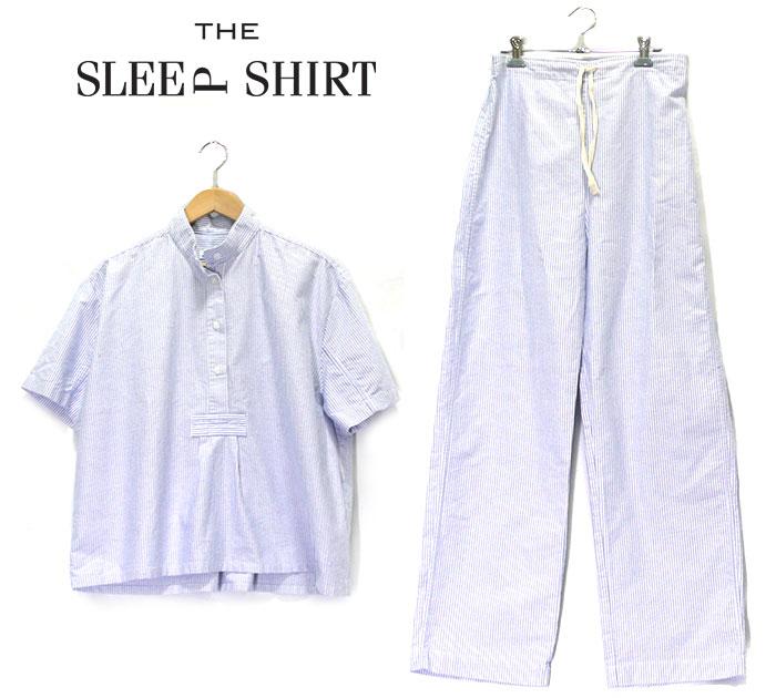 【THE SLEEP SHIRT】 ザスリープシャツ ルームウェア セットアップ XSサイズ カナダ製 コットン ボーダー 青 レディース 女性用 美品 RC0802【中古】