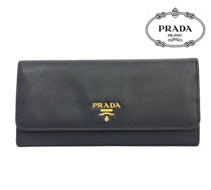 【PRADA】プラダ 二つ折り長財布 サフィアーノ マルチ ブラック 黒 ウォレット メンズ レディース RM0960【中古】