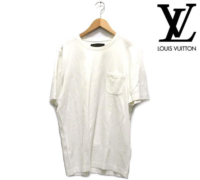 【LOUISU VUITTON】ルイヴィトン クルーネック ダミエポケット Tシャツ XL イタリア製 白 ホワイト 半袖 コットン RC0823【中古】
