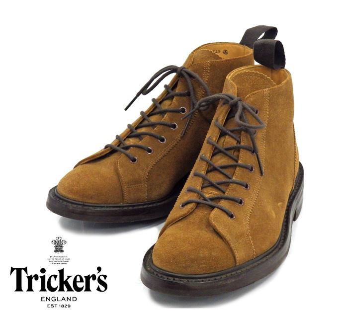 【Tricker's】トリッカーズ #6077 モンキーブーツ ダイナイトソール サイズ7 F5 英国製 ブラウン スエード 美品 メンズ 男性用 RM0985 【中古】