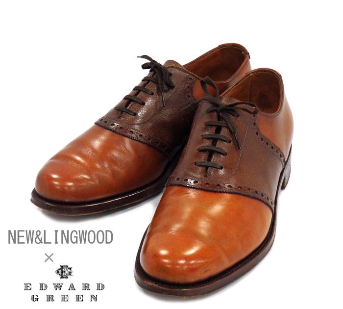 【NEW & LINGWOOD×EDWARD GREEN】ニューアンドリングウッド エドワードグリーン サドルシューズ サイズ7E ロシアンカーフ 英国製 ブラウン RM0990 【中古】