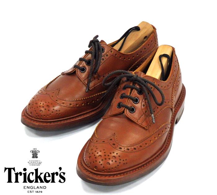 【Tricker's】トリッカーズ 5633/39 バートン マロンアンティーク サイズ6F5 ダイナイトソール ウイングチップ イングランド RM1007 【中古】