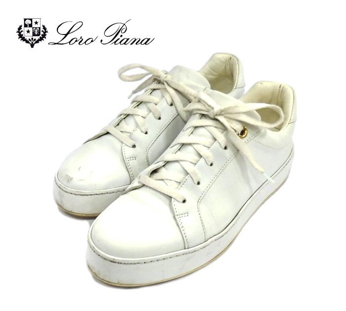 【Loro Piana】ロロピアーナ NUAGES カーフスキン スニーカー サイズ37 1/2 レディース シューズ ホワイト 白 靴 RM1010 【中古】