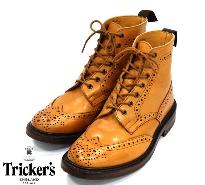 【Tricker's】トリッカーズ #2508 サイズ 9F5 カントリーブーツ MALTON バーニッシュカーフ ダイナイトソール 靴 英国 メンズ 美品 RM1014 【中古】