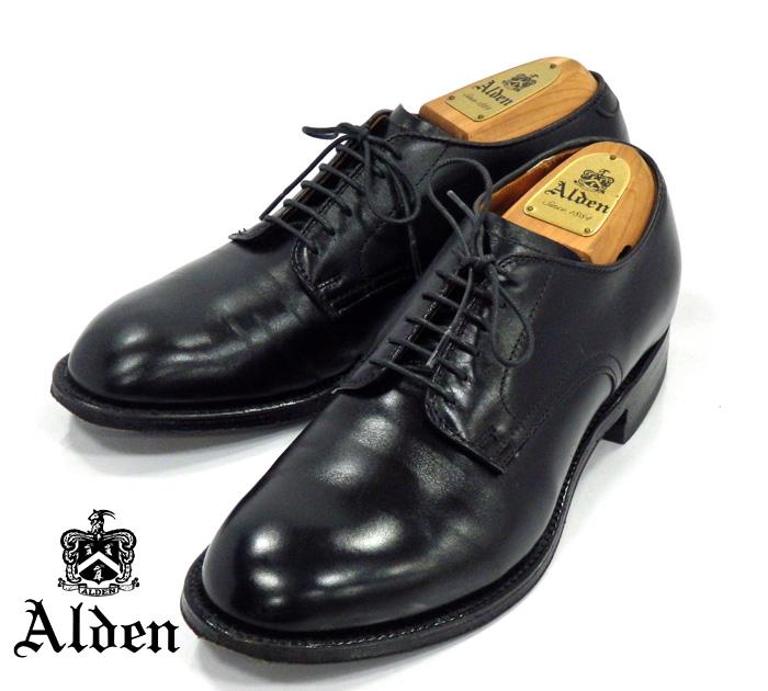 【ALDEN】オールデンインターナショナルギャラリーBEAMS別注 #53517 モディファイド カーフ プレーン サイズ6D ブラック 黒 ドレスシューズ 紳士靴 メンズ RM1015 【中古】