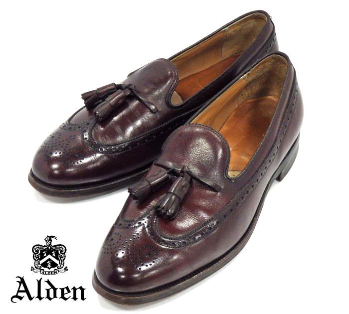 【ALDEN】オールデン #553 アバディーンラスト ロングウイングタッセル サイズ10C バーガンディ ローファー カーフスキン 紳士靴 メンズ RM1028 【中古】