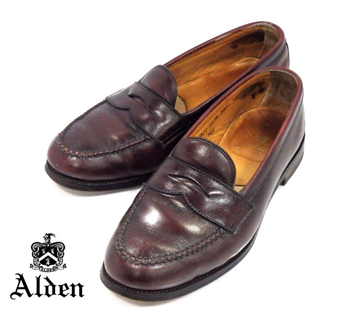 【Alden】オールデン #984 サイズ9E ペニーローファー バーガンディカーフ ヴァンラスト 紳士靴 メンズ RM1029 【中古】