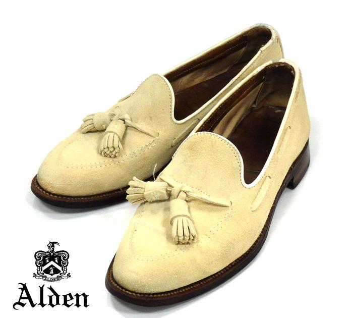 【ALDEN×SHIPS】オールデン シップス別注 #3401UF サイズ7 1/2D アバディーンラスト ヌバック タッセルローファー ベージュ ドレスシューズ 紳士靴 メンズ RM1030 【中古】