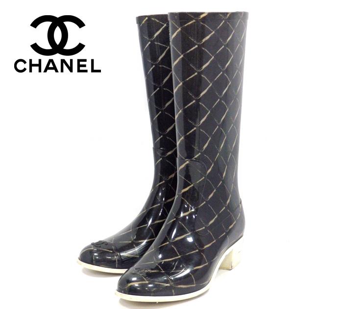 【CHANEL】シャネル マトラッセ レインブーツ ブラック 黒 サイズ35 長靴 レディース 女性用 ラバー RM1032 【中古】