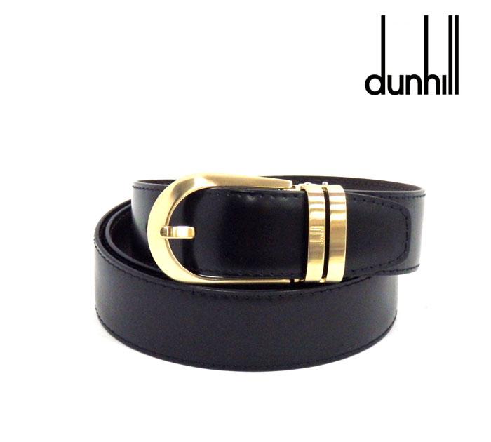 【dunhill】ダンヒル リバーシブルベルトブラック×ダークブラウンカーフレザーゴールド金具 メンズ 紳士 男性用 RM1078 【中古】