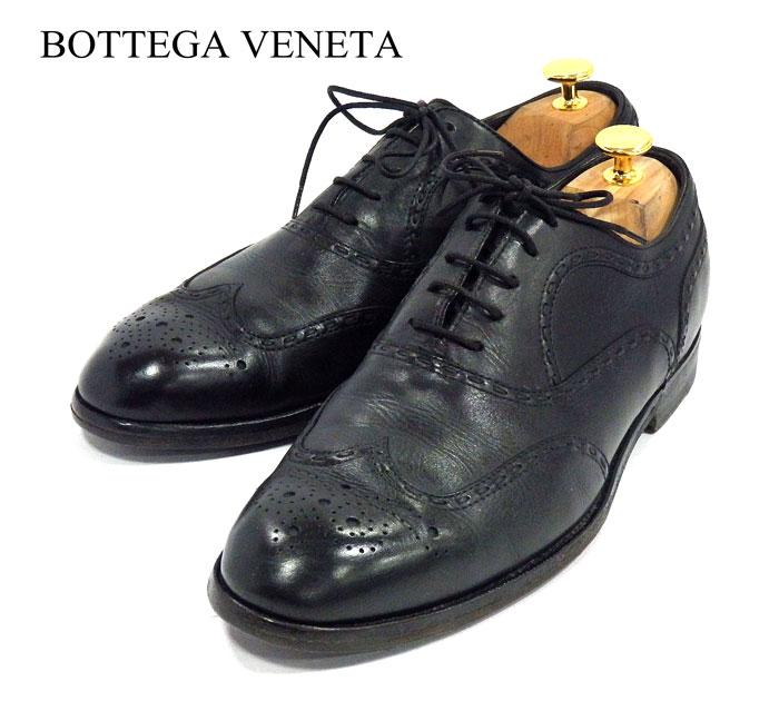 【BOTTEGA VENETA】ボッテガヴェネタ ウイングチップ ドレスシューズ サイズ40 1/2 イントレチャート レースアップ ブラック 黒 紳士靴 ビジネス レザー 革靴 メンズ RM1158 【中古】