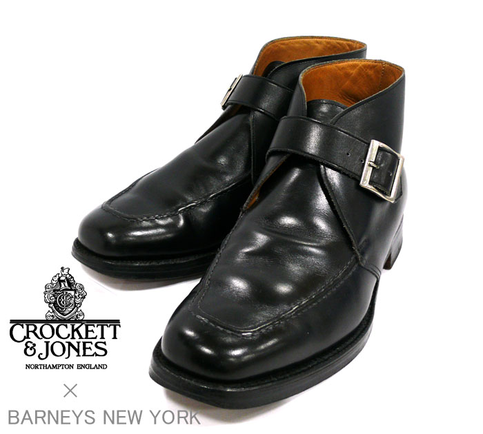 【CROCKETT&JONES】クロケット&ジョーンズ×バーニーズニューヨーク BARNEYS NEW YORK 別注 サイズ7 1/2 Uチップ モンクストラップブーツ ブラック 黒 シューズ 紳士靴 メンズ 革靴 RM1164 【中古】