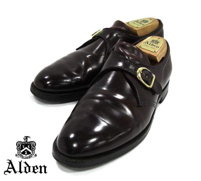 【ALDEN】オールデン #954 サイズ7 1/2D シングルモンクストラップ コードバン アバディーンラスト バーガンディ ドレスシューズ 紳士靴 メンズ RM1192 【中古】