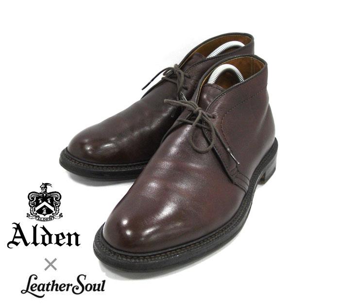 【ALDEN×LeatherSoul】オールデン×レザーソウル別注 #147147 サイズ8D チャッカブーツ カーフ バリーラスト ブラウン ドレスシューズ 紳士靴 メンズ RM1206 【中古】
