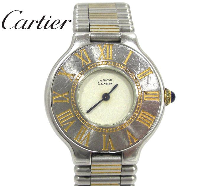 【Cartier】カルティエ マスト21 マストヴァンティアン 女性用腕時計 クオーツ ステンレス コンビ シルバー×ゴールド 電池交換済み RM1232 【中古】